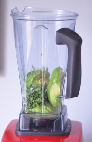 avocado, cilantro, and lime juice in blender