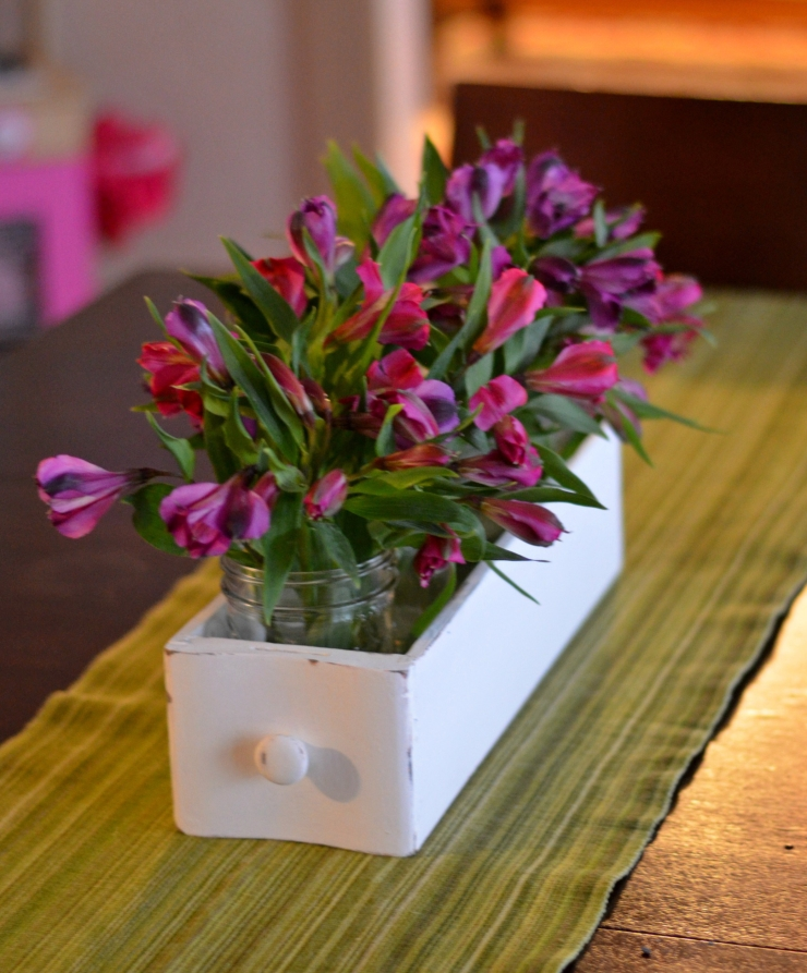 repurposed sewing machine drawer with flowers