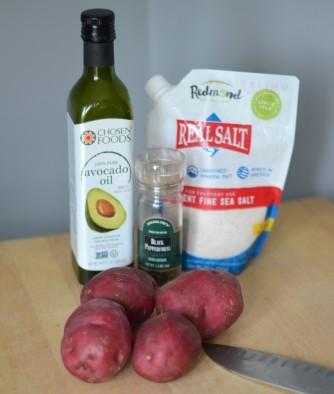oil, pepper, potato, salt