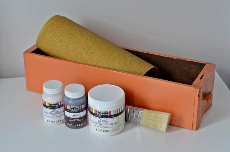 Wood sewing machine drawer, chalk paint, paint brush, and sandpaper