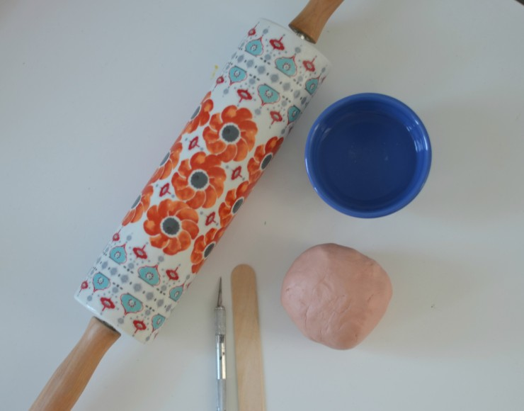 rolling pin, water, clay, wood stick, exactoknife