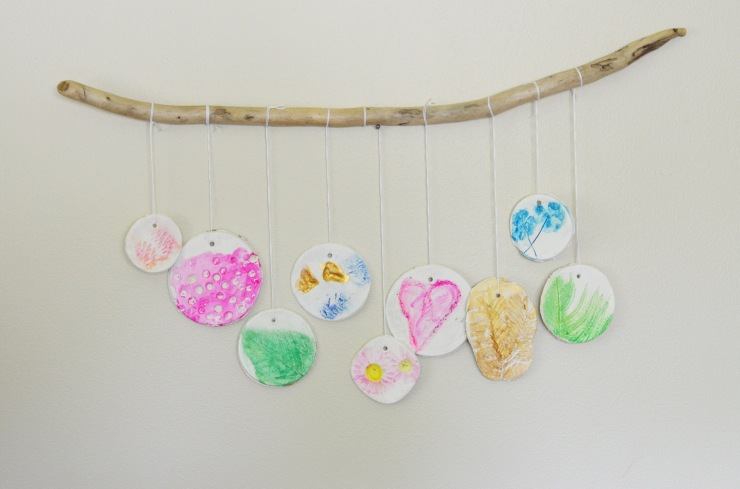 Nature impression on clay wall hanging