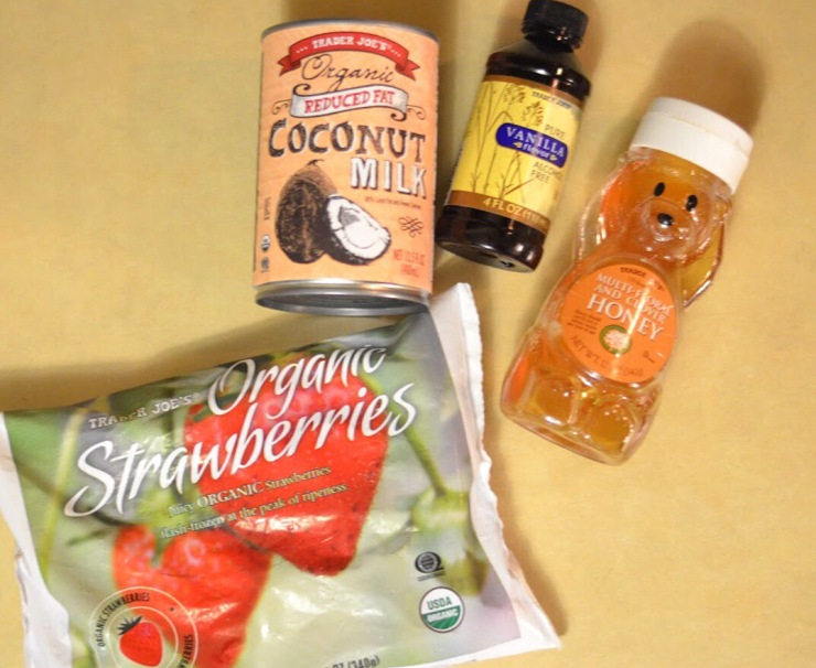 Coconut milk, frozen strawberries, vanilla, honey