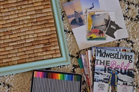 Magazines, markers, cork board