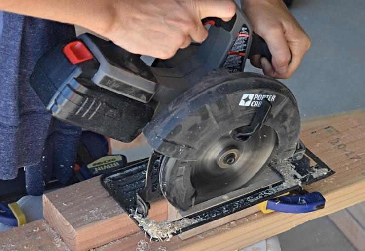 cutting wood with circular saw
