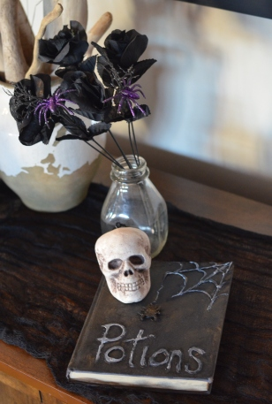 Potions book with skull and black roses